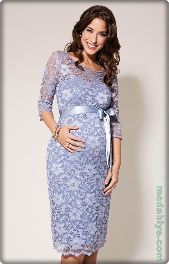 Dantel işlemeli hamile abiye elbise