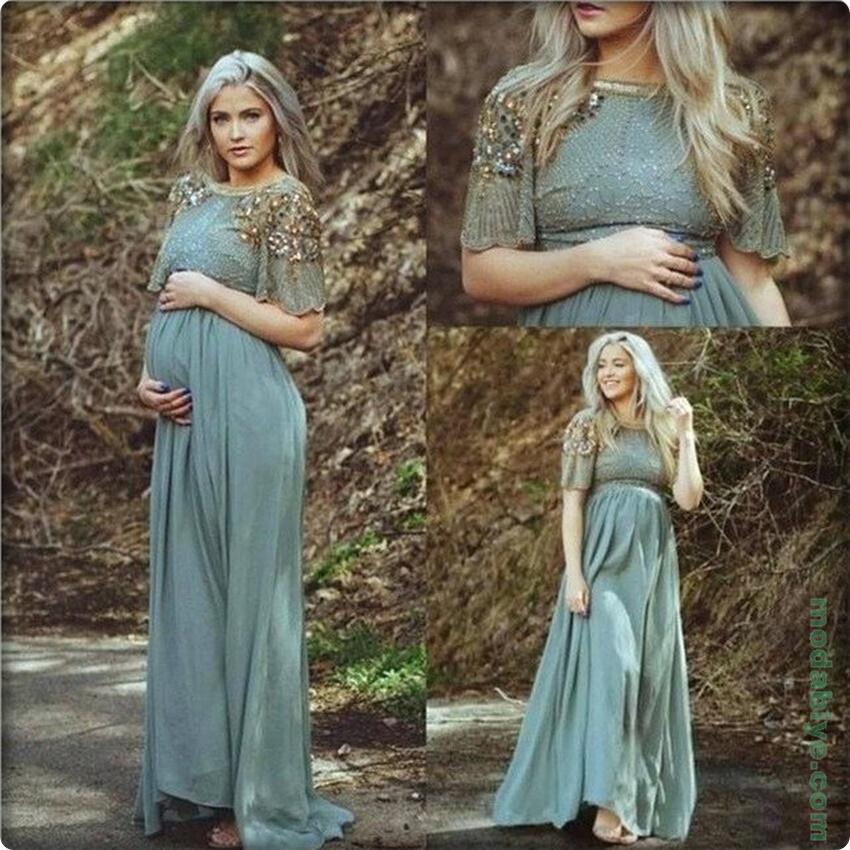 Taş İşlemeli Hamile Abiye Elbiseler
