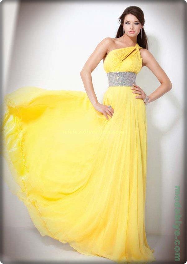 Tek omuz sarı abiye elbise