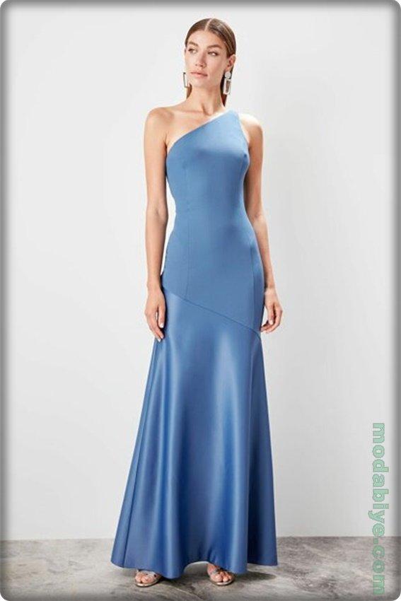 Mavi indigo tek omuz abiye modeli