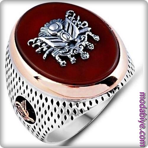 Akik taşlı Osmanlı armalı gümüş yüzük