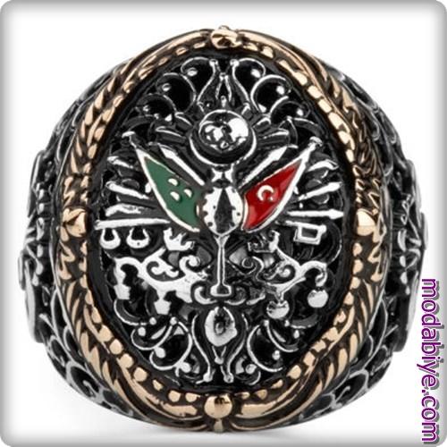 Figürlü Osmanlı arması motifli yüzük