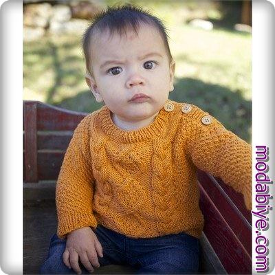 Omuzdan düğmeli turuncu bebek hırkası