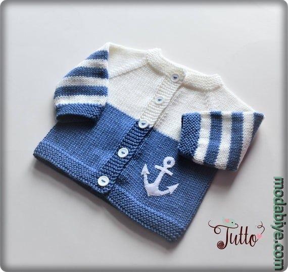 Tiğ işi denizci bebek ceket modelleri