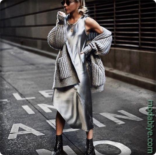 Trend 2019-2020 midi elbise ile sokak stili