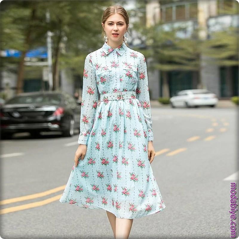 2020 Çiçek Desenli Elbise Modelleri
