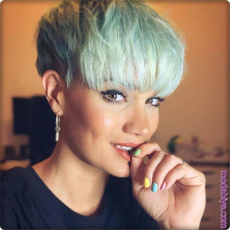 Açık yeşil kısa saç modelleri