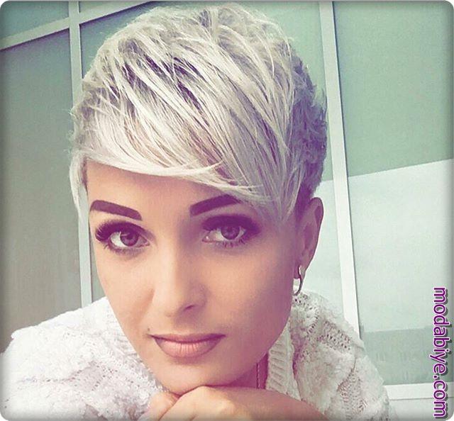 Beyaz kısa pixie saç modelleri