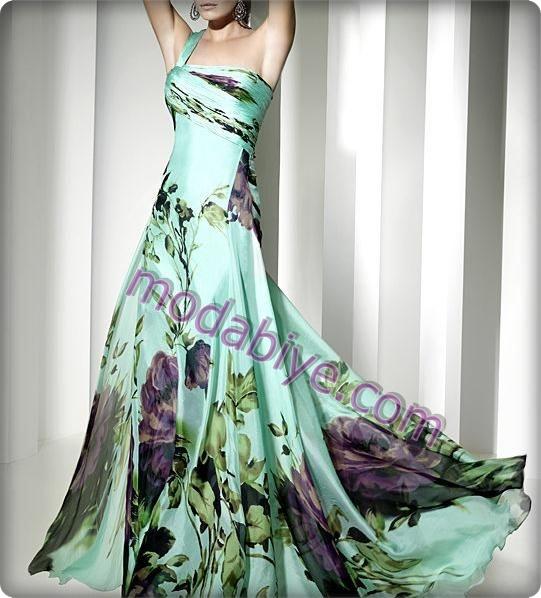 Çiçek desenli düğün elbise modelleri