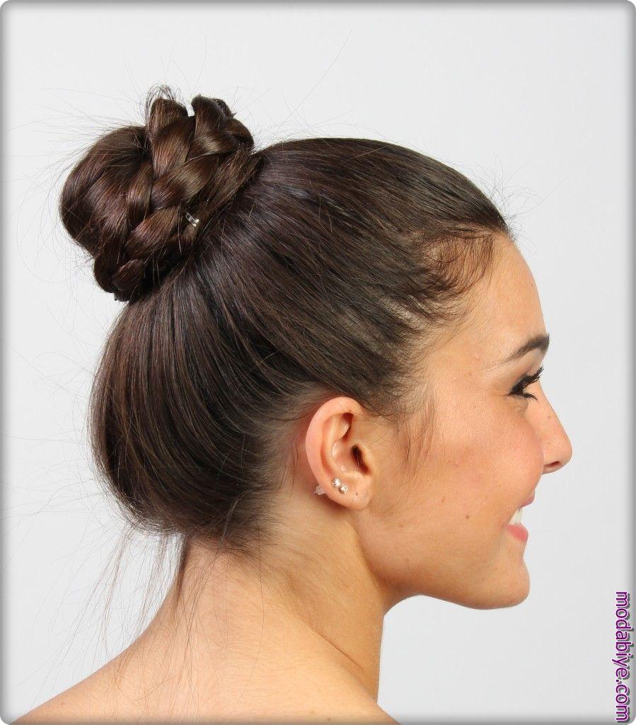 Kolay topuz saç modeli
