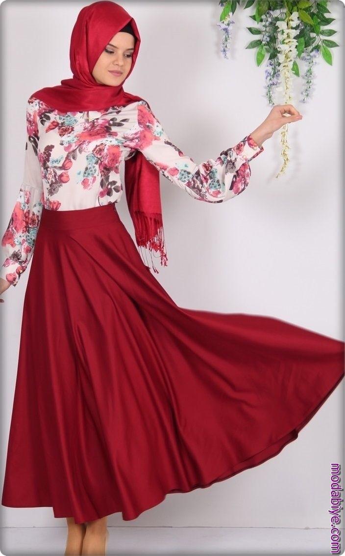 Kurban Bayramı Kırmızı Tesettür Elbise Modelleri
