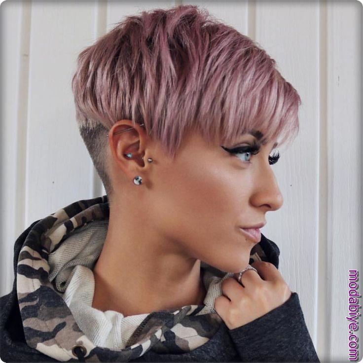 Pembe pixie kısa saç modelleri