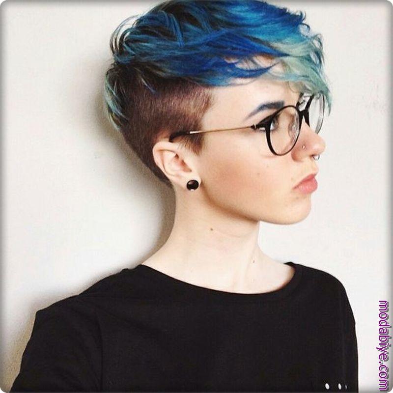 Renkli pixie saç modelleri