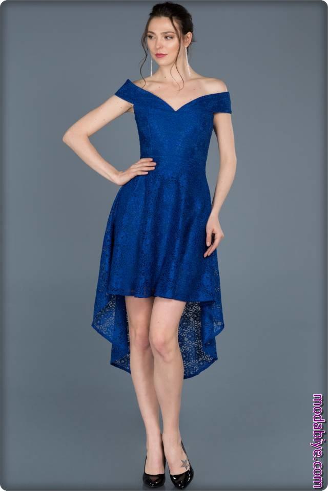 Saks mavisi kısa uzun elbise modelleri