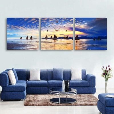 3 Parça motif kanvas duvar saatleri