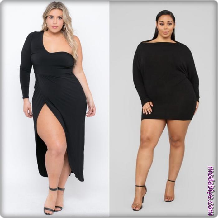 Büyük beden siyah elbise modelleri