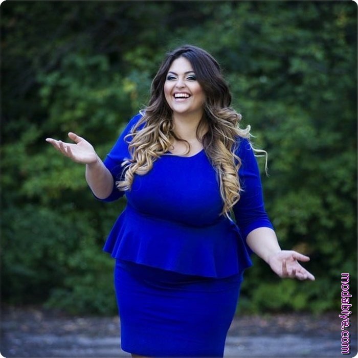 Mavi büyük beden elbise modelleri