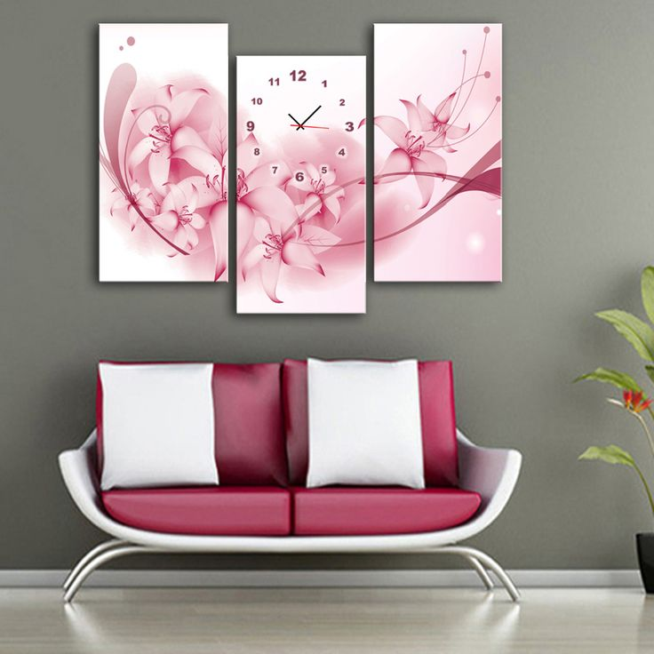 Çiçek Motifli kanvas duvar saatleri