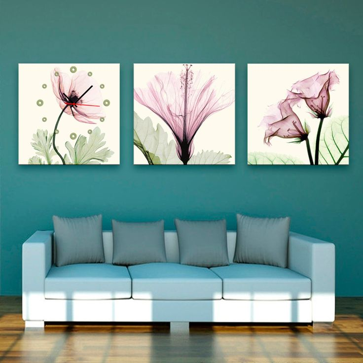 Pembe şeffaf çiçek desenli tuval kanvas duvar saatleri