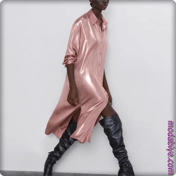 Pembe t-shirt uzun saten elbise Zara