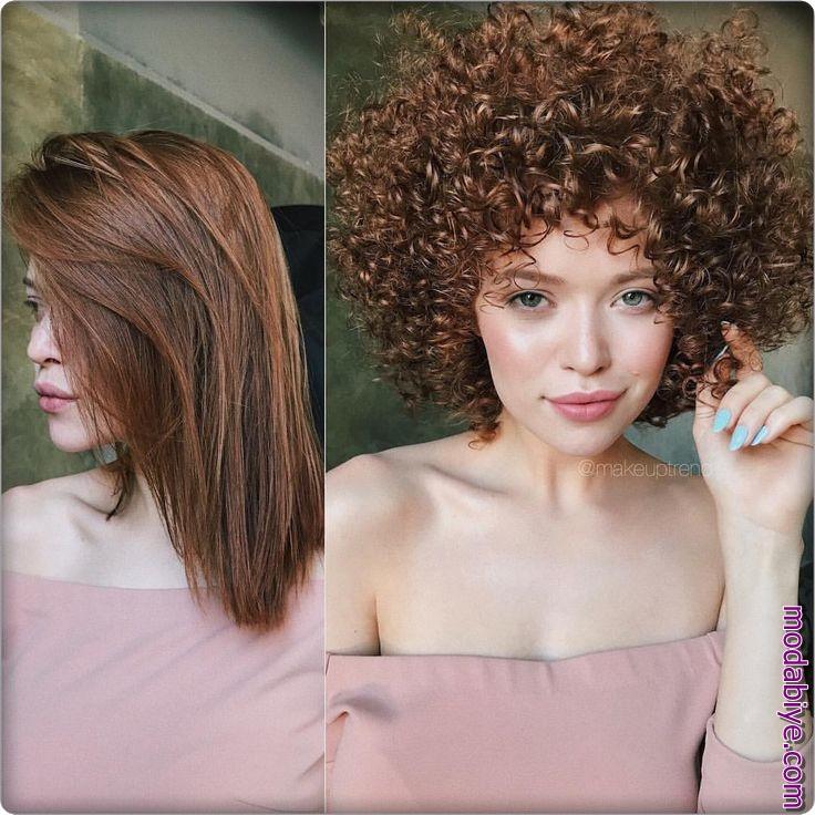 Perma saç öncesi ve sonrası