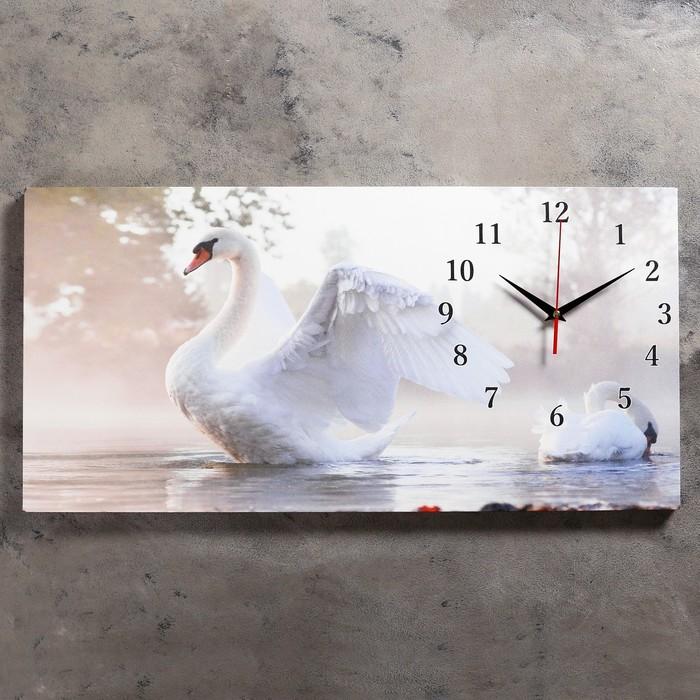 Tuval üzerine beyaz kuğu duvar saatleri