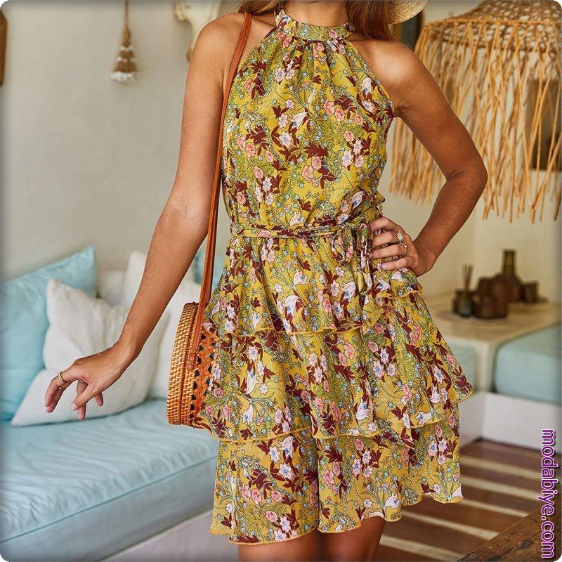 Zara çiçek desenli kolsuz yüksek bel bohem tarz elbiseler
