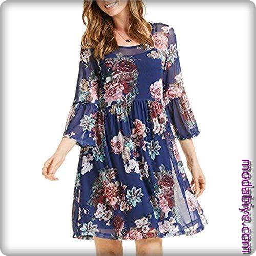 Zara çiçek desenli yazlık şifon elbise modelleri