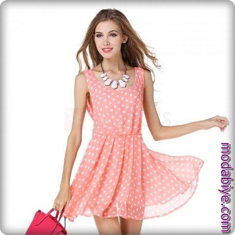 Zara pembe puantiyeli şifon elbise