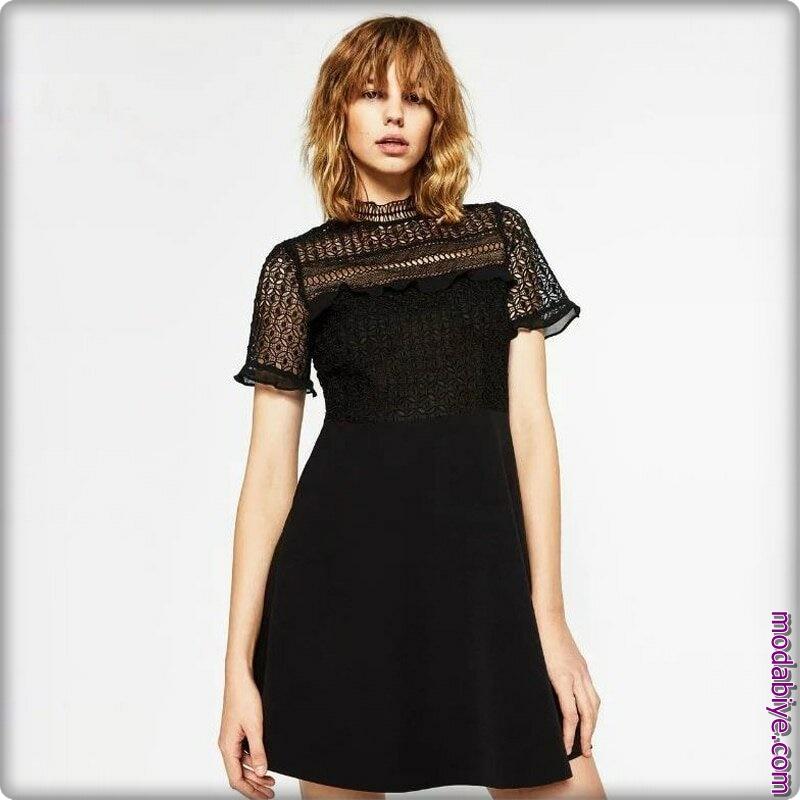 Zara yazlık siyah elbise modelleri