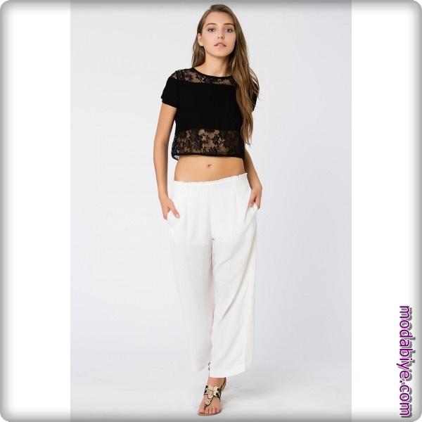 Beyaz pantolon siyah bluz modelleri