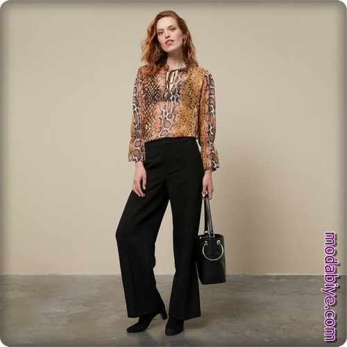 Leopar desenli abiye bluz siyah pantolon kombinleri