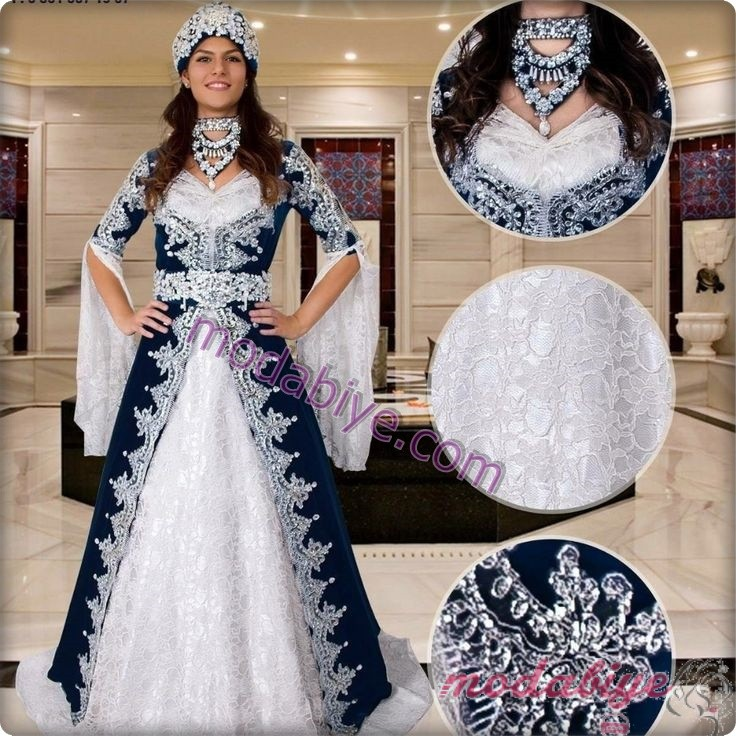 Mavi beyaz bindallı kına elbisesi modelleri