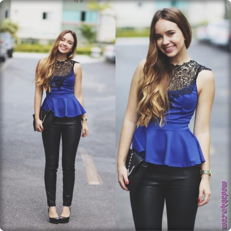 Saks mavisi dantelli kolsuz bluz modelleri