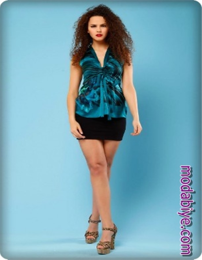 Siyah mini etek kobalt mavisi abiye bluz kombin