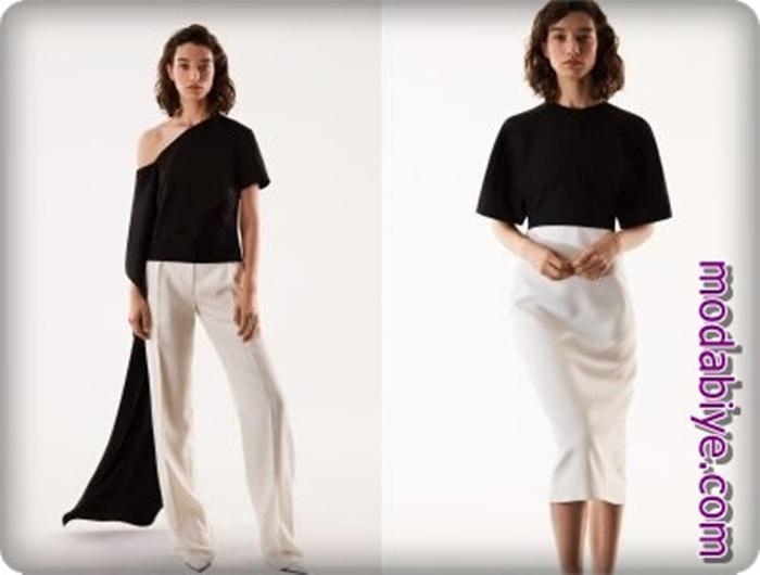 Siyah ve beyaz abiye bluz kombinleri