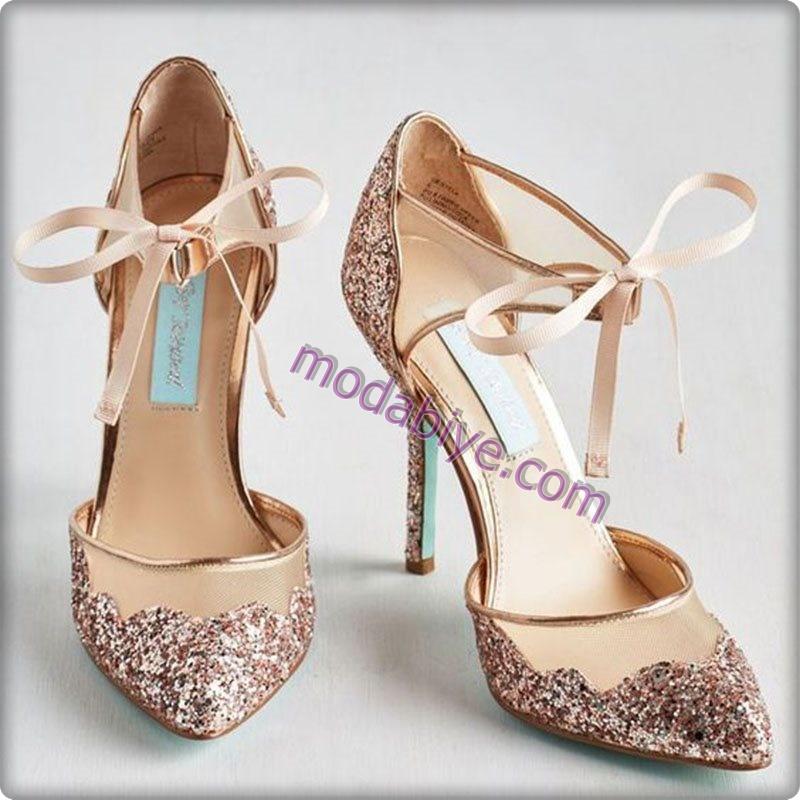 Topuklu gelinlik ayakkabısı modelleri