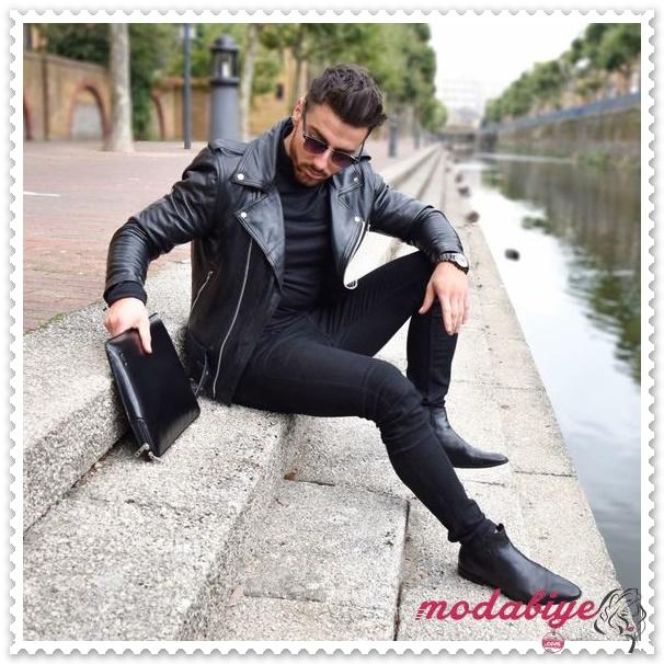Siyah deri ceket siyah kot pantolon siyah deri bot siyah deri çanta tarzınız ile göz kamaştırın erkek bot kombinleri