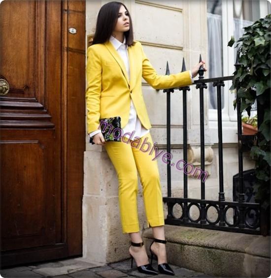 Bayan Sarı renkli pantolon kombinleri