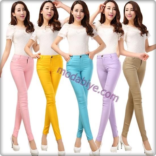 Bayan renkli dar pantolon kombinleri