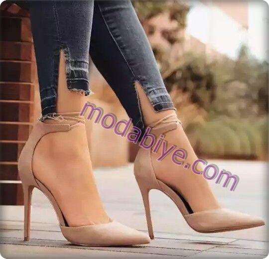 Bej renk açık stiletto ayakkabı modelleri