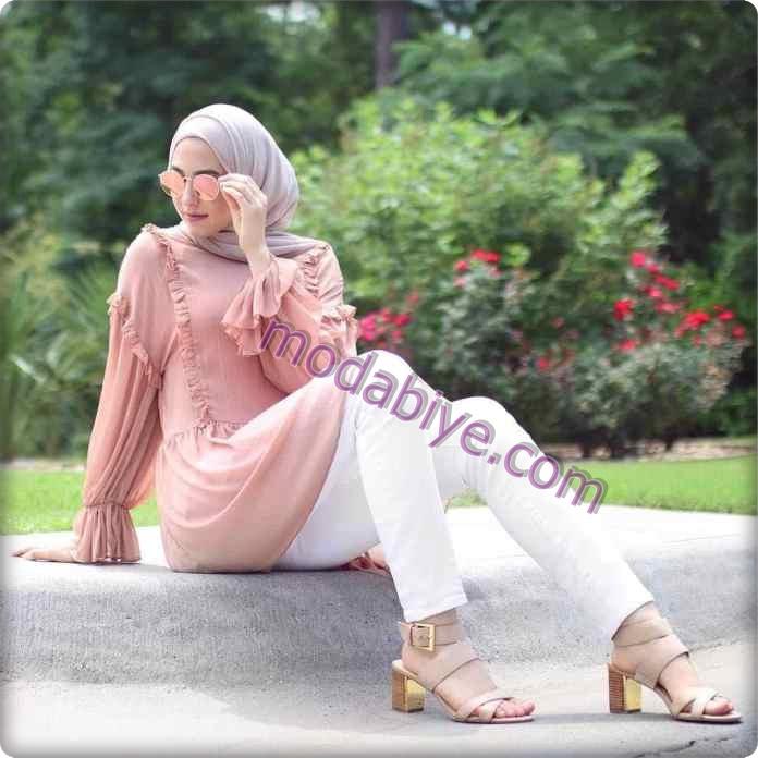 Beyaz pantolon ince krem renk tunik türbanlı moda