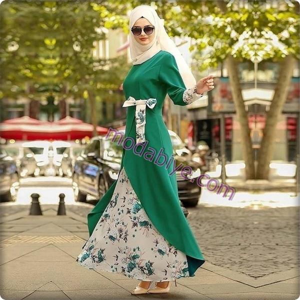 Çiçek desenli uzun beyaz etek uzun yeşil tunik tesettür moda