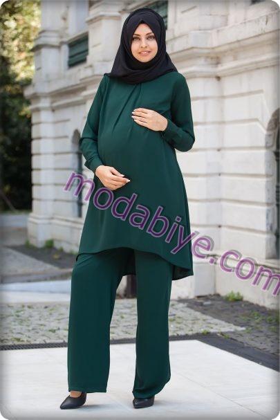 Hamile yeşil tesettür abiye modelleri