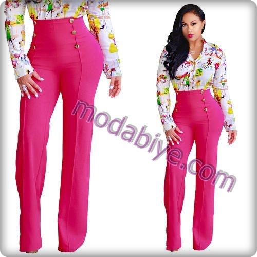 Kadın pembe renkli bol pantolon kombinleri
