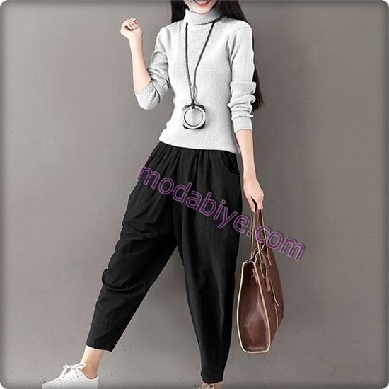 Kadın siyah bol pantolon kombinleri