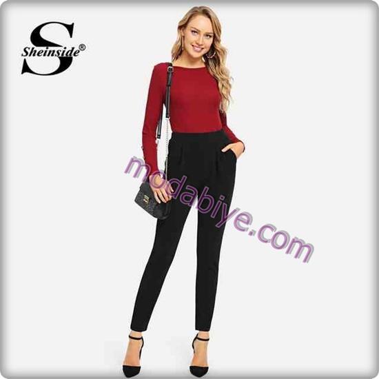Kadın siyah dar pantolon kombinleri