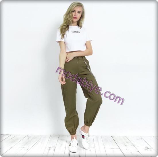 Kadın yesil renkli kargo pantolon kombinleri
