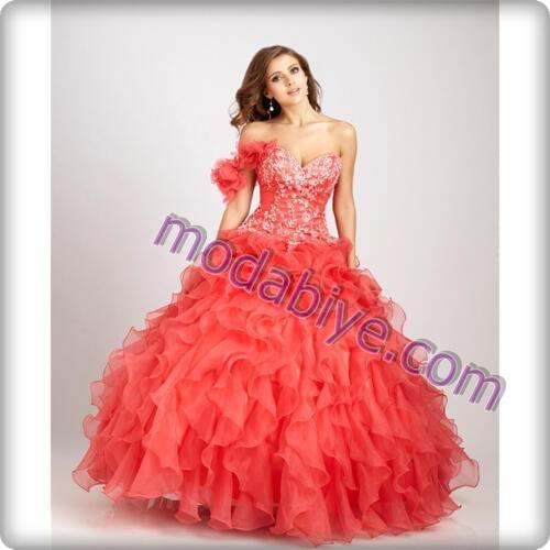 Kırmızı kabarık kınalık elbise modelleri