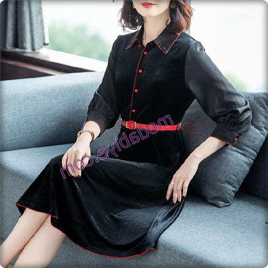 Kırmızı kemerli siyah kadife elbise modelleri